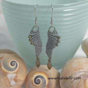 gray macrame earrings