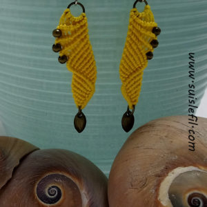 yellow macrame earrings