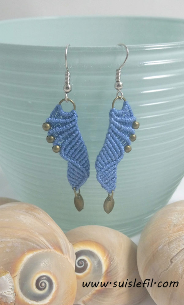 cornflower blue macrame earrings