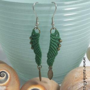 forest green macrame earrings