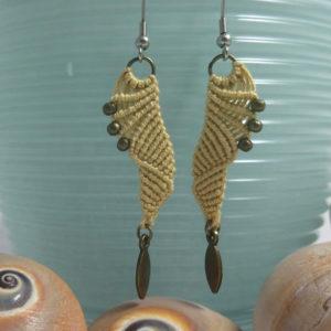 khaki macrame earrings