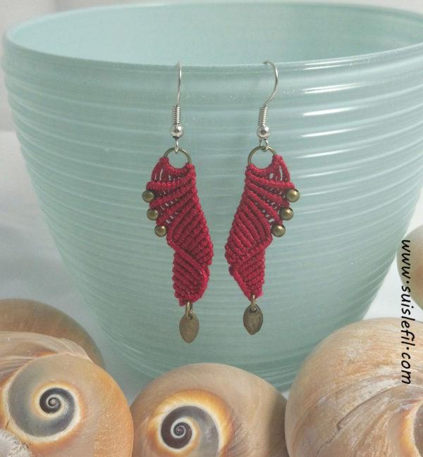 red macrame earrings