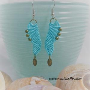 turquoise macrame earrings
