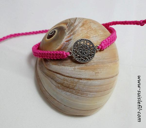 pink macrame bracelet