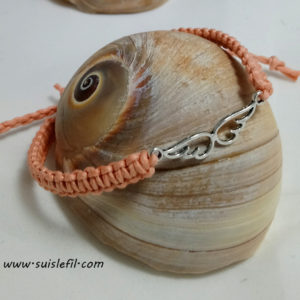 peach macrame bracelet