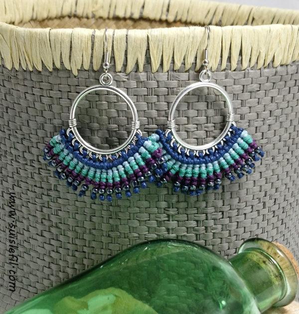 peacock macrame earrings