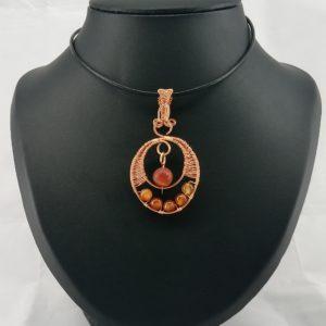 agate fire copper pendant